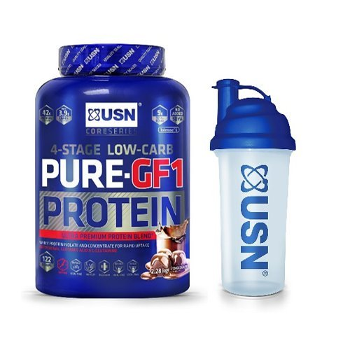 USN Pure Protein GF1 Low Carb Protein Shake, Chocolate, 2.28 kg with USN Shaker, 700 ml
