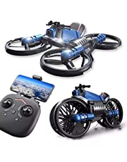 Children's Enlightenment Remote Control Drone Simulation Model Toy with HD Camear 2.4g Deformation Motorcycle Folding Four-axis Aircraft Two-in-one Remote Control Aircraft