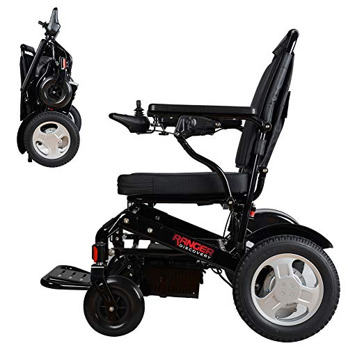 """Porto Mobility Ranger D09S, 1 Best Rated Weatherproof Exclusive Lightweight Folding Electric Wheelchair, Dual """"500W"""" Motors, All Terrain, Dual Battery Portable Electric Wheelchair (Black, Standard)"""