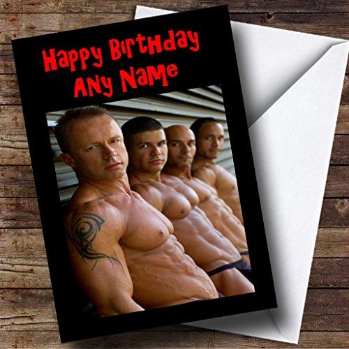 Topless Sexy Mannen Gay Gepersonaliseerde Verjaardagskaart
