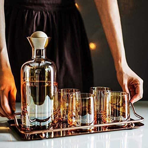 DECANTER semplicità con Il Vassoio Whisky Set 1200ml con 4 Bicchieri di Cristallo Bicchiere di Vino Piombo Liquor Scotch Free Breakfast Anniversary Compleanno CHENGYI (Color : A)