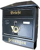 Großer Briefkasten / Postkasten XXL Anthrazit mit Zeitungsrolle Zeitungsfach Schrägdach Trapezdach