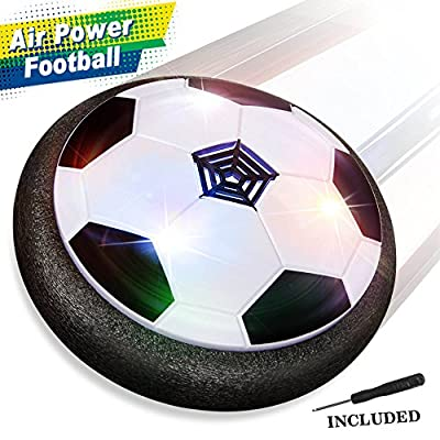 Baztoy Kids Toys Air Power Soccer Ball Games Indoor Hover Football with Soft Foam Bumpers and LED Lights Children Gadget Gifts for Boys Girls 3 4 5 6 7 8 9 10 Years Old from Betheaces