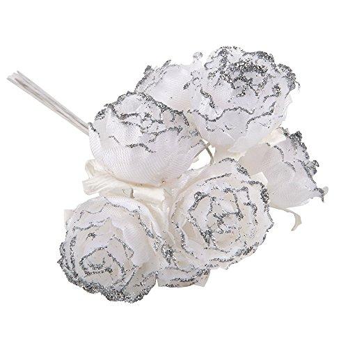 Mopec nf177.12 – Boutons de 6 Fleurs Blanches avec Paillettes argenté, Blanc