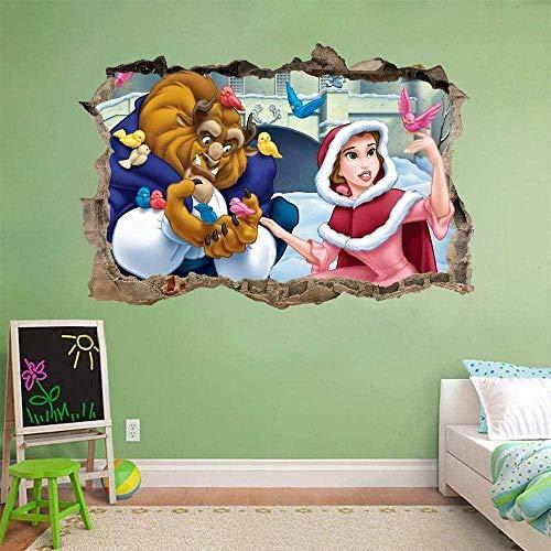 Pegatinas de pared-3D-Personaje de anime de dibujos animados Smashed Decal Wall Sticker Art Mural Princess-50x70cm