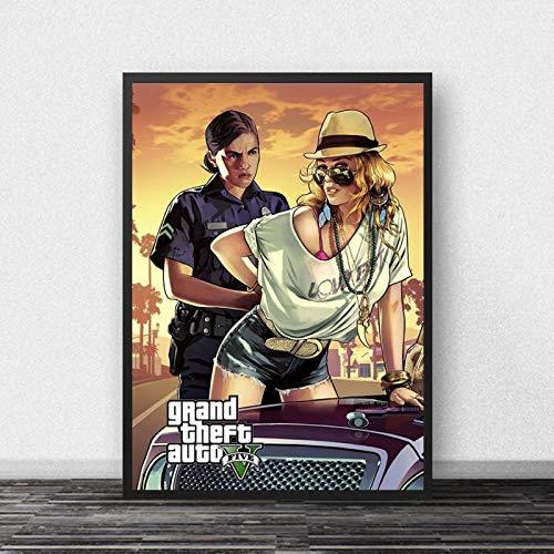 koushuiwa Plakat Kunst Druck Wand Poster GTA 5 Grand Theft Auto V Spiel Wandkunst Bild Leinwand Gemälde Ac1417 Ungerahmt 50X70Cm