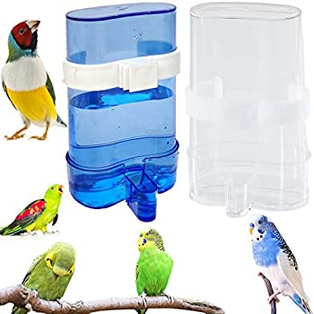Distributeur d'Eau Pour Oiseaux 2 Pièces Station d'Alimentation Bain d'Oiseaux Pour Cage Distributeur d'Aliments Bleu Abreuvoirs Mangeoire Pour Les Oiseaux Pour Oiseaux Perruches Cockatiels Perroquets