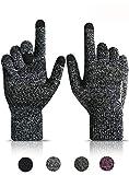 HONYAR Handschuhe Herren Touchscreen, Stricken Winterhandschuhe Herren - Winter Warm Gefüttert - Elastische Manschette - Rutschfester Griff - Laufhandschuhe Fahrradhandschuhe - Schwarz & Weiß (L)