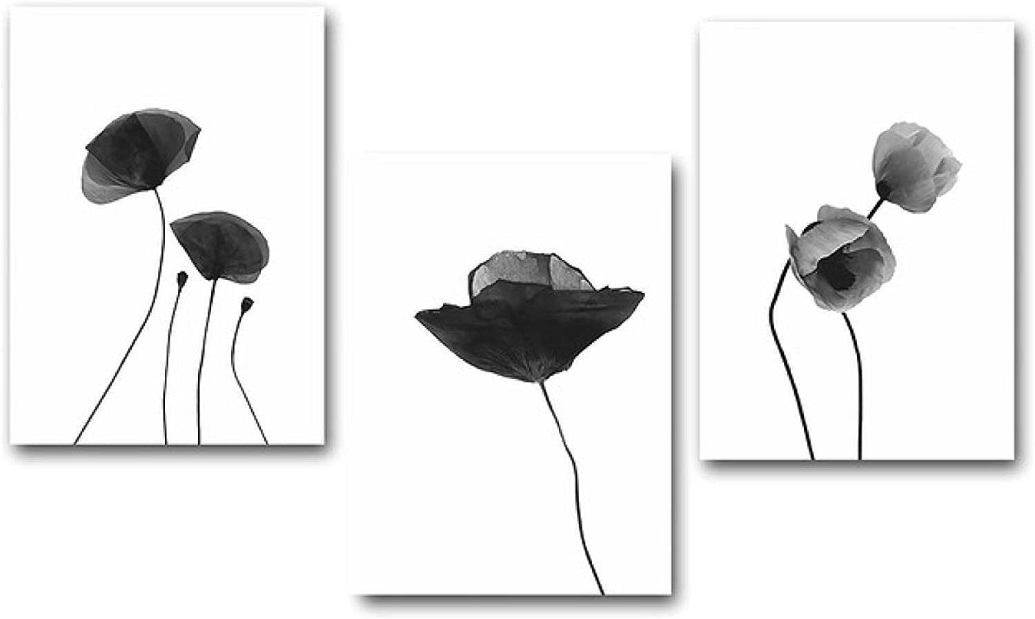 Modern 3 Pieces art Sale item Black White Flowers Canvas Printed Living Ro NEW