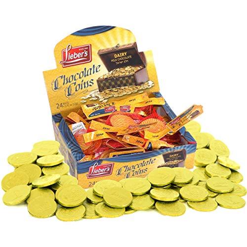 Hanukkah Chocolate Gelt Gold Coins In Mesh Bag, Milk Chocolate Coins, Kosher Certified Gelt (Single, 24 Mesh Bags)
