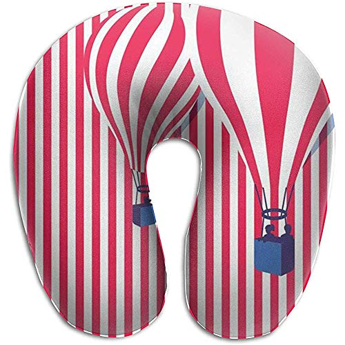 Ballon Pink en Whitie Stripe U-vormige reiskussen, ergonomisch gevormd design, wasbare afdekking voor vliegtuig, trein, auto, bus of kantoor