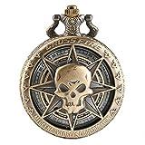 Reloj de Bolsillo para Hombre, Estilo Vintage, con diseño de Calavera de Cazador y Cruz, Reloj de...