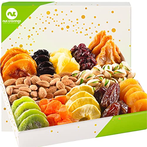 Dried Fruit & Nut Gift Basket in White Box (12 Piece Assortment) -...