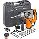 VonHaus Rotary Hammer Drill 10 Amp with Vibration Control, 3 Drill Functions and Adjustable Handle - Includes SDS Plus Drill Demolition Kit, Flat and Point Chisels with Case