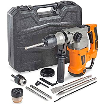 """VonHaus 1-3/16"""" SDS-Plus Heavy Duty Rotary Hammer Drill 10 Amp - Vibration Control 3 Functions - With Drill Demolition Kit Grease Chisels Drill Bits and Case – Suitable for Concrete Wood Steel"""