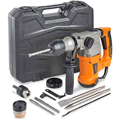 VonHaus SDS-Plus 10 Amp Rotary Hammer Drill with Vibration Control, 3 Functions - Includes Drill Demolition Kit, Grease, Chisels and Drill Bits with Case – Suitable for Concrete, Wood, Steel