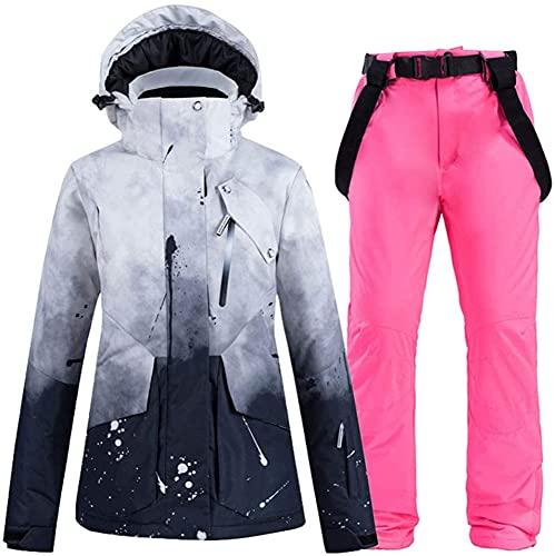 TIANYOU Traje de Esquiar Trajes de Esquí Pantalones de Esquí Impermeable Espesar Resistente Al Viento Respirable Chaqueta de Esquí Snowboard Unisexo Adecuado para Esquí de Inviern