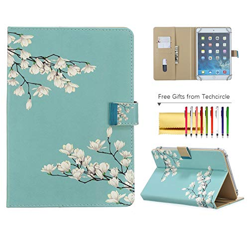 Universal Case for 8 Inch Tablet, Techcircle Folio Wallet Stand Magnetic Flip Leather Protective Cover for Samsung Tab A 8 / Lenovo Tab 4 8 / Amazon/RCA and More 8' Android Tablets, Cape Jasmine