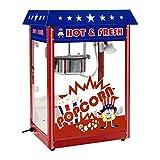 Royal Catering Machine à Popcorn Design américain RCPR-16.1 (1.600W, rendement horaire 5 kg/h, 16 L/h, diamètre de la cuve en haut 18,5 cm, récipient téflon, rouge avec chariot)