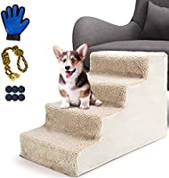Aone Dog Ramp Stairs with Pet Glove,4-Steps Plastic Pet Bed Ladder for Small Dogs and Cats,Up to 50 Lbs,Removable,...
