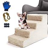 MASTERTOP Haustiertreppen-4-Step Hundetreppe für Katzen und Hunde, die auf EIN hohes Bett und eine Couch Klettern - senden Sie 1 Hundeseilball und Haustierhandschuhe