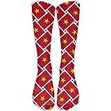 Jesse Tobias Calcetines de compresión de tejido de bandera de Vietnam Calcetines largos Calcetines deportivos para viajes Ocio para mujeres y hombres: los mejores calcetines de viaje y vuelo