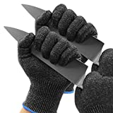 KMITMUK Level 5 Cut Resistant Gloves, 4 Gloves, Food Grade, Durable & Washable, Safety Kitchen Cutting Gloves, Oyster Shucking, Mandolin Slicing and Wood Carving (Black, X-Large)