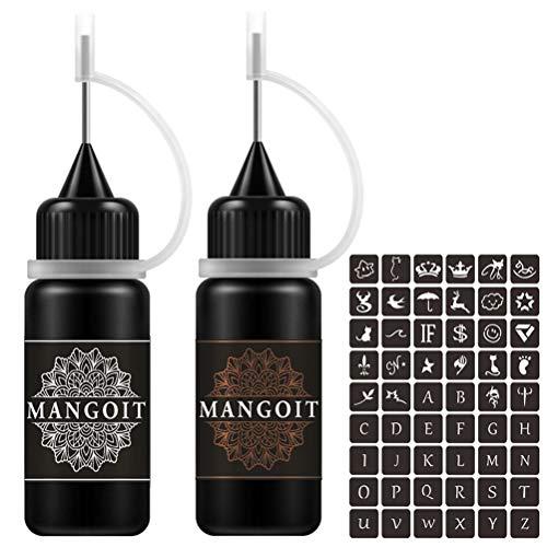 MANGOIT Temporary Tattoo Kit, Freckles Tattoo, Semi-permanent Tattoo Set, 2 Bottles Fruit Gel/Ink with 54 PCS Self-adhesive Tattoo Stencils(Black&Brown)