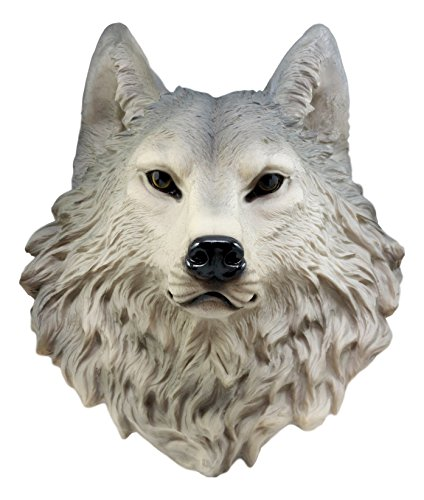 Ebros Gift Large Gray Timber Wolf Head Wall Decor Plaque 16.5' Tall Taxidermy Art Decor Sculpture Canis Lupus Wall Bust Plaque
