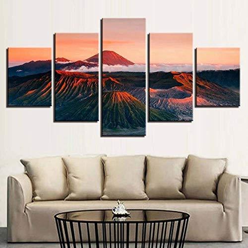 104Tdfc Impresiones 5 Pieza Impresiones sobre Lienzo Montaña del volcán Cuadro En Lienzo 5 Piezas Impresión Material Tejido No Tejido Impresión Artística Imagen Gráfica Decoracion