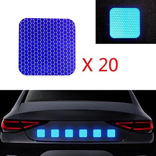 Cobear 20x Hoch Intensives Reflektoren Aufkleber Selbstklebend für LKW Auto Motorrad Boot Fahrrad Anhänger Helm Taschen Sicherheit Warnklebeband Sicherheit Markierung Band Quadratische Form Blau