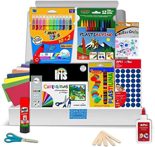 Pack Manualidades - PS-BASICS CRAFTS (ESENCIAL) - Kit de material para Manualidades: Cartulinas, Goma EVA, Pegamento, Cola, Tijeras. Productos de Papeleria al Mejor Precio