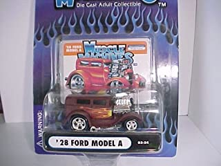 Figurine Car 2003 Muscle Machines '28 Ford Model A - Primer Red (Rust Brown) with Flames and Blower # 03-24 - Die Cast Adult Collectible 1:64 Scale