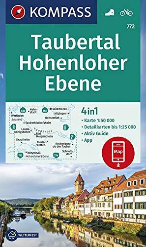 KOMPASS Wanderkarte Taubertal, Hohenloher Ebene: 4in1 Wanderkarte 1:50000 mit Aktiv Guide und Detailkarten inklusive Karte zur offline Verwendung in ... (KOMPASS-Wanderkarten, Band 772)