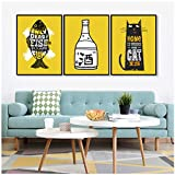 Posters Affiches et estampes de vin de poisson chat de pays nordiques Images de toile Images de mur Art mural pour cuisine Scandinave Décor-50x70cmx3 Sans cadre