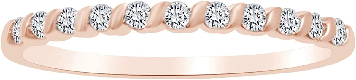 Round Shape White Natural Diamond Anniversary Band Ring In 10k Solid Gold (0.16 cttw)