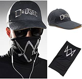Laz-Tipa - Unisex Black Face Mask Game Watch Dogs 2 WD2 Marcus Holloway Cosplay Dedsec Hat Cap Party Halloween Costumes Ball IC366955