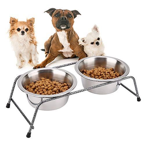 Pssopp Pet Feeding Bowls Dubbele Bowls Huisdier Feeding Station RVS Dubbele Huisdier Feeder Gerechten Verwijderbare Hond Kat Water en Voedsel Houder met Anti-slip Rubber Beugel Voeten
