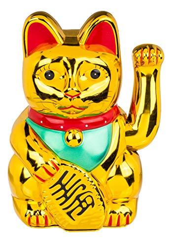Out of the Blue 57/9717 - Gato de la Suerte de Asia (20 cm, Funciona con Pilas, en Caja de Regalo), Color Dorado