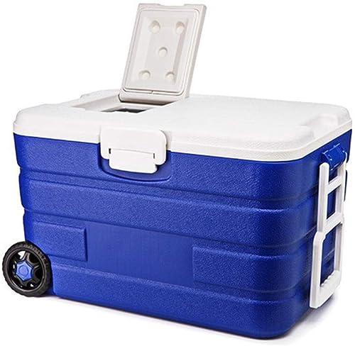 Glacière Mobile - CapaCôté élevée - Réfrigération extérieure pour la préservation de la Famille - Boîte d'isolation portative pour Chargement de Voiture - à Roues