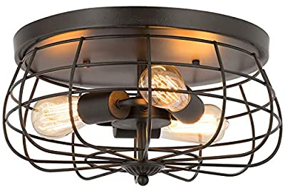 Ganeed Semi Flush Mount Ceiling Light, Industrial Retro Metal Cage Ceiling Light,Pendant Lighting Lamp Fixture for Farmhouse Kitchen Hallway Bedroom Living Room,3 Lights,E26,Black