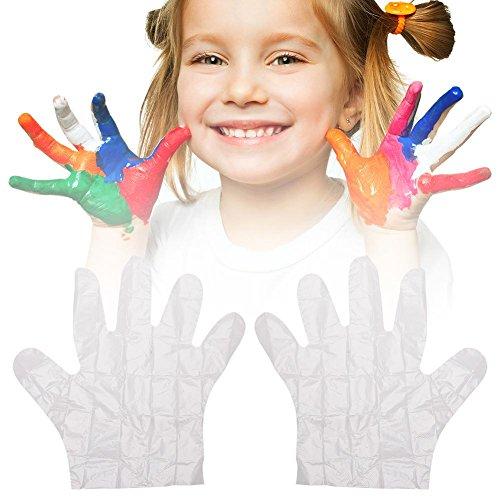 childlike Guantes Transparentes Guantes PE Desechables Multipropósito Sin Látex para Niños, 100Pcs Guantes Desechables Ecologicos, para Hogar/Cocina/Restaurante