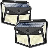 DOOK Luz Solar Exterior 260LED, Foco Solar Exterior con Sensor de Movimiento Lámpara Solar Impermeable Gran Ángulo 270º de Iluminación Luces Solares Jardín 2200mAh y 3 Modos Inteligentes 2-Paquete