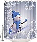 ZXYAIAN Duschvorhang, Weihnachtsmotiv, niedlicher Schneemann auf Skateboard, dekorativer Stoff, wasserdicht, Badezimmer-Vorhang-Set mit Haken, extra lang, 183 x 244 cm