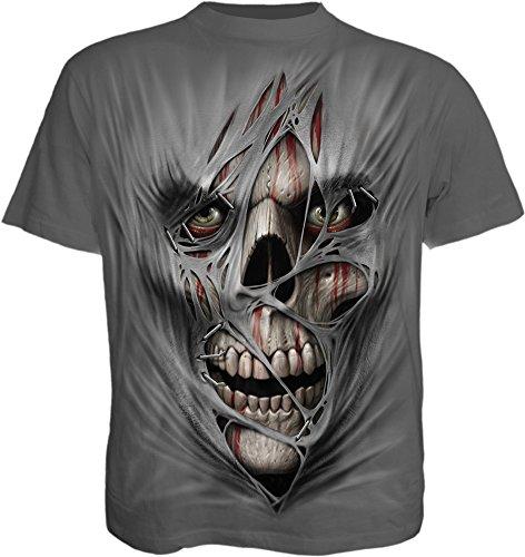 Spiral Direct Camiseta Gótica Punk con Calavera Estampada - Gris Carbón S