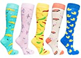 Socks n Socks-Women's 5 Pairs Colorful Luxury Cotton Funky Umbrella Knee Socks