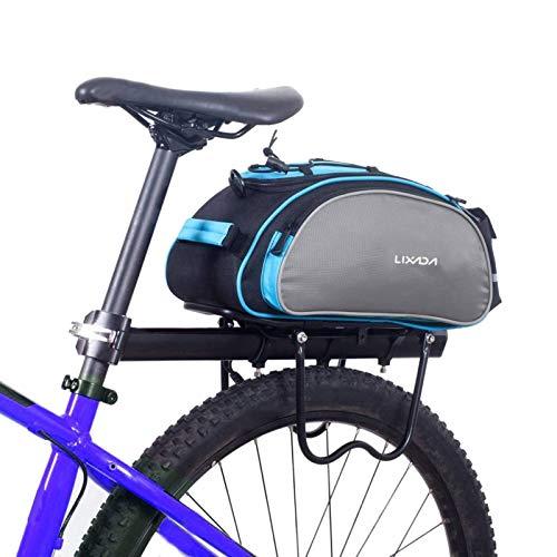 Lixada 自転車 リアバッグ 多機能 サイクル 自転車リアキャリア取付用 トランクバッグ パニアバッグ 3-13L大容量 収納力抜群 着脱式ショルダーストラップ付属