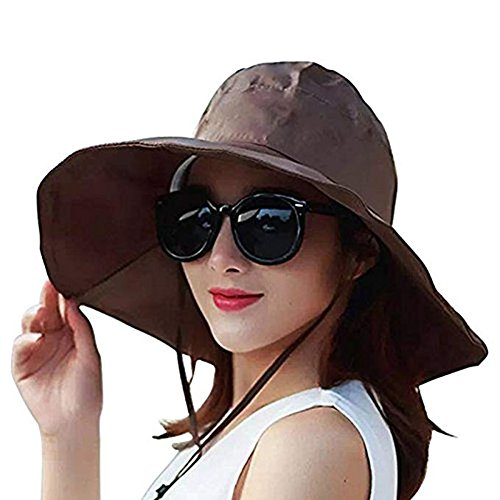 Damen Sommer Regenhut UV UPF 50 Sonnenschutz breite Krempe Sonnenhut Faltbarer Eimer Hut, Damen, braun, Einheitsgröße