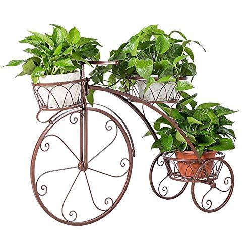 Soporte de Flores Soporte de Planta de Metal de 3 Niveles Estante de Exhibición de Flores, Soporte para Macetero de Plantas de Jardín Estilo Bicicleta