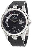 Edox Grand Ocean Automatic Steel Mens Rubber Strap Watch Black Dial Day Date 83006-3CA-NIN